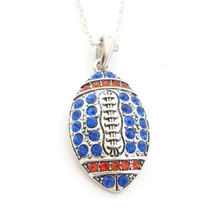 Football Royal Blue and Orange Necklace